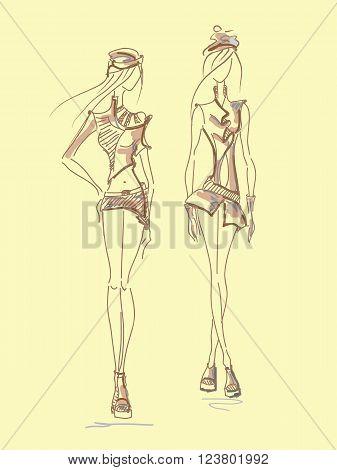 Vector fashion. Vector sketch silhouette. Vector vintage lady. Dress pencil sketch. Vector fashion outline. Vector style lady. Vector fashion girl.