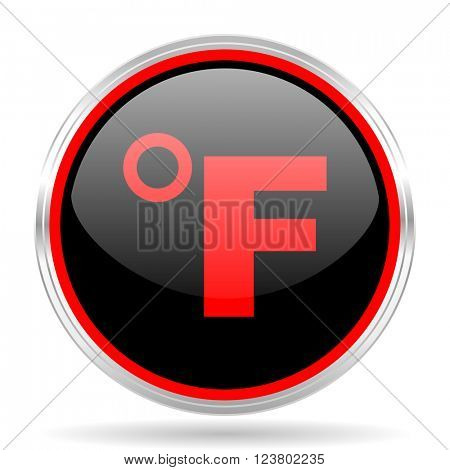 fahrenheit black and red metallic modern web design glossy circle icon