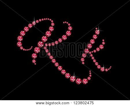 Kk in stunning Ruby Script precious round jewels isolated on black.