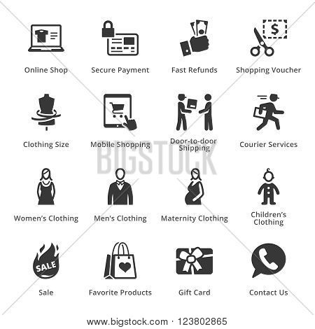 E-commerce Icons - Set 1. This set contains e-commerce icons that can be used for designing and developing websites, as well as printed materials and presentations.