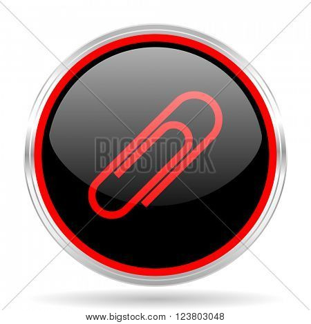 paperclip black and red metallic modern web design glossy circle icon