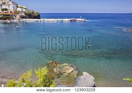 Seacoast at Bali on the Crete island in summer