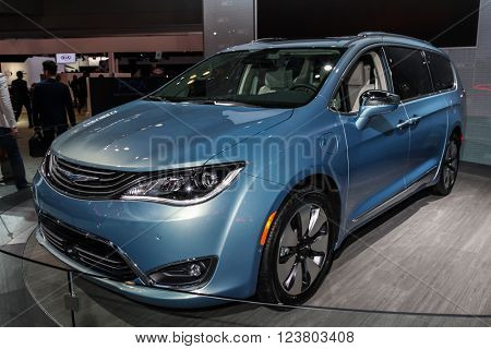 NEW YORK - MARCH 23: A Chrysler Pacifica 2017 at the 2016 New York International Auto Show during Press day,  public show is running from March 25th through April 3, 2016 in New York, NY.