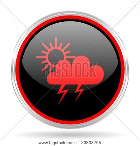 storm black and red metallic modern web design glossy circle icon