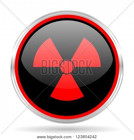 radiation black and red metallic modern web design glossy circle icon