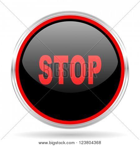 stop black and red metallic modern web design glossy circle icon