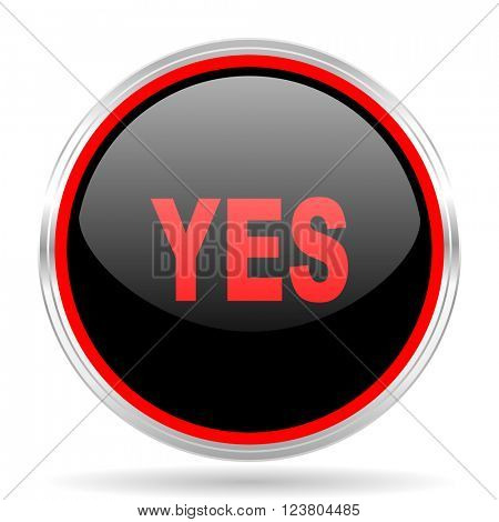 yes black and red metallic modern web design glossy circle icon