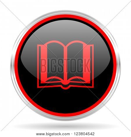 book black and red metallic modern web design glossy circle icon