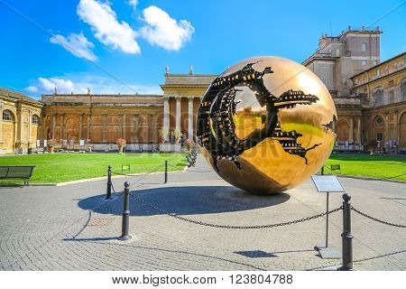 Vatican, Italy - June 26, 2014: Sphere within sphere in Courtyard of the Pinecone at Vatican Museums. There is no one of the people.