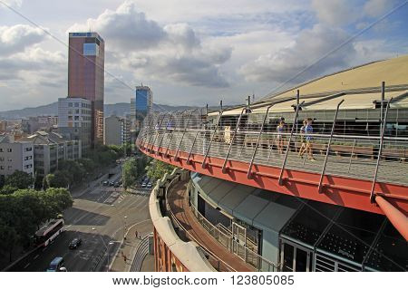 Barcelona, Catalonia, Spain - August 28, 2012: Roof Of Bullring Arena On Spain Square In Barcelona W