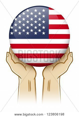 Pair of hand holding and lifting an orb with United States of America insignia