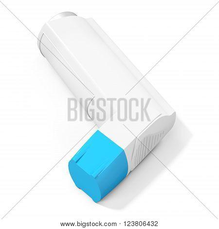 Blue cap medicine inhaler on white background 3D illustration