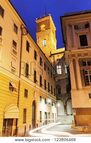 Genoa Old Town street at night. Genoa Liguria Italy