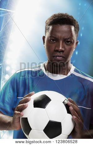 Athlete with soccer ball