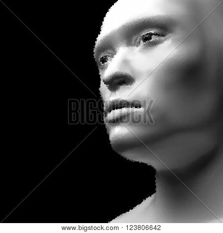 Cyborg, Android, Robot. Realistic Vector Humanoid Robot. View of Human Head. Stipple Effect. Vector Art. Dot Design. Pointillism Style.
