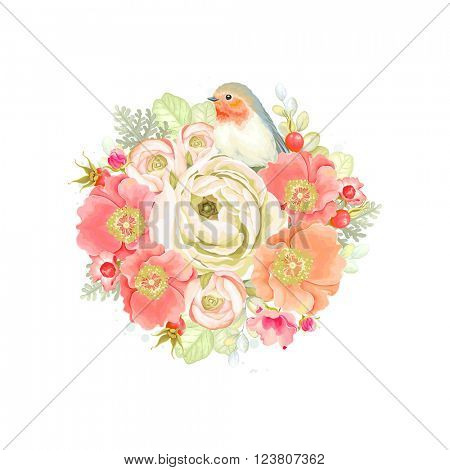 Decorative round ornament of flowers ranunculus, rose hip, bird Robin and leaves, tender floral vector illustration in vintage watercolor style.