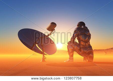 Cyborg next solar battery in the desert.3D rendering