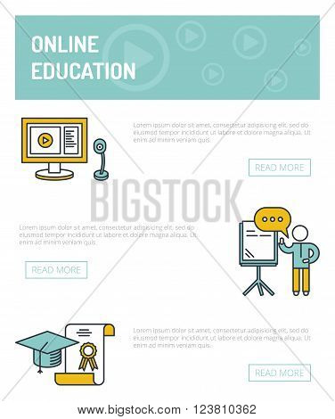 Online education concept template.  Speaker stands near the board and holds seminar, computer and webcam, graduate cap and charter.