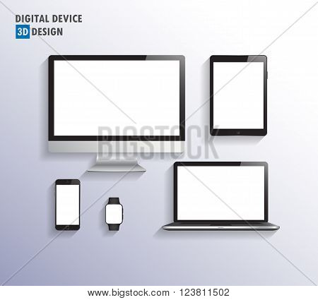 Realistic vector laptop tablet computer monitor and mobile phone template.vector . illustration.