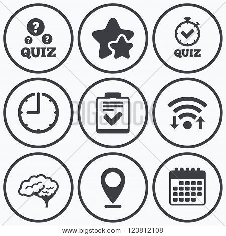 Clock, wifi and stars icons. Quiz icons. Human brain think. Checklist and stopwatch timer symbol. Survey poll or questionnaire feedback form sign. Calendar symbol.