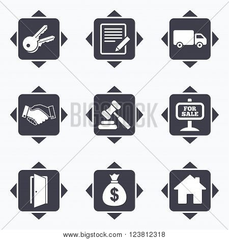 Icons with direction arrows. Real estate, auction icons. Handshake, for sale and money bag signs. Keys, delivery truck and door symbols. Square buttons.