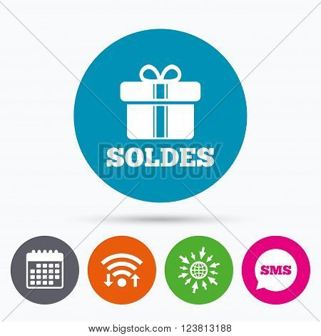 Wifi, Sms and calendar icons. Soldes - Sale in French sign icon. Gift box with ribbons symbol. Go to web globe.