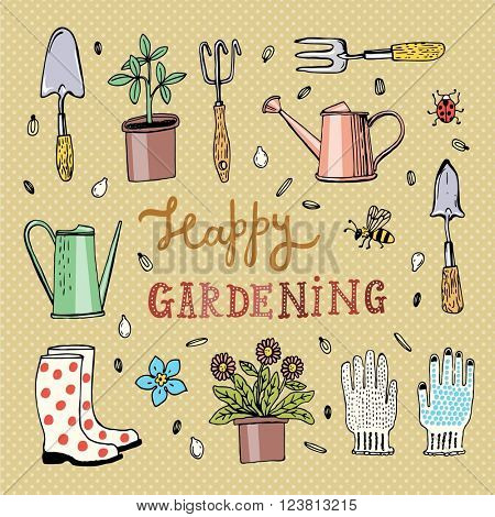 Hand drawn vector illustration with gardening icons