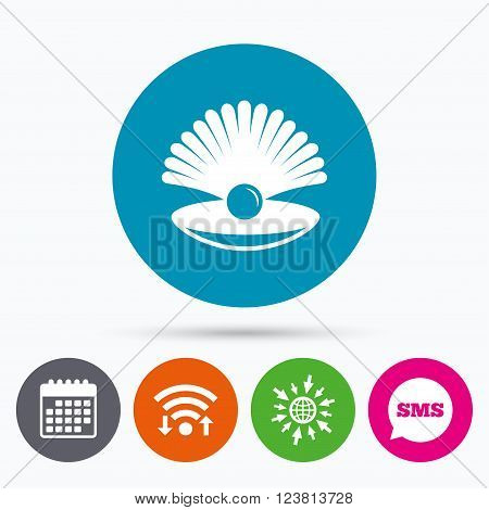 Wifi, Sms and calendar icons. Sea shell with pearl sign icon. Conch symbol. Travel icon. Go to web globe.