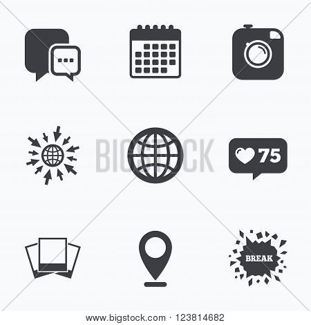 Calendar, like counter and go to web icons. Social media icons. Chat speech bubble and world globe symbols. Hipster photo camera sign. Photo frames. Location pointer.