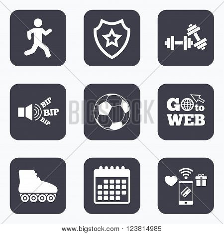 Mobile payments, wifi and calendar icons. Football ball, Roller skates, Running icons. Fitness sport symbols. Gym workout equipment. Go to web symbol.