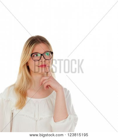 Blonde girl with black glasses isolated on a white background
