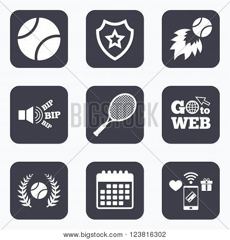Mobile payments, wifi and calendar icons. Tennis ball and racket icons. Fast fireball sign. Sport laurel wreath winner award symbol. Go to web symbol.