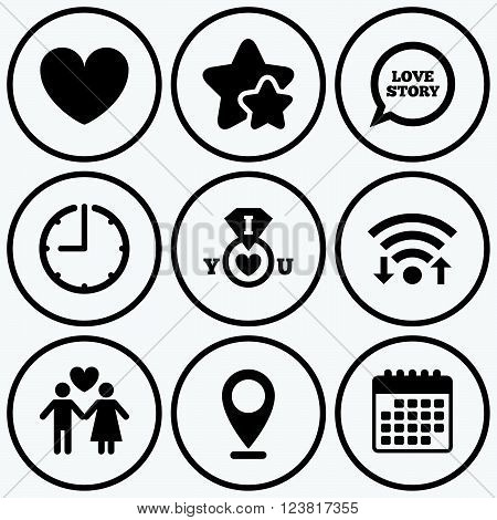 Clock, wifi and stars icons. Valentine day love icons. I love you ring symbol. Couple lovers sign. Love story speech bubble. Calendar symbol.