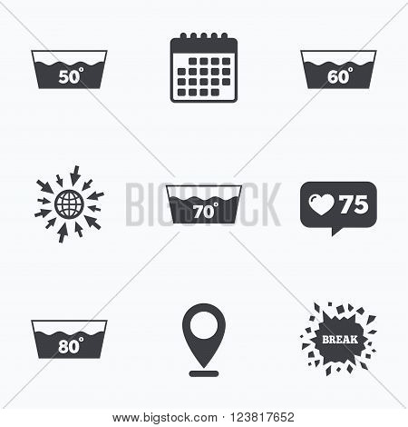 Calendar, like counter and go to web icons. Wash icons. Machine washable at 50, 60, 70 and 80 degrees symbols. Laundry washhouse signs. Location pointer.
