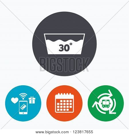 Wash icon. Machine washable at 30 degrees symbol. Mobile payments, calendar and wifi icons. Bus shuttle.