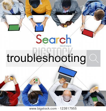 Troubleshooting Problem Solve Inspection Repair Concept