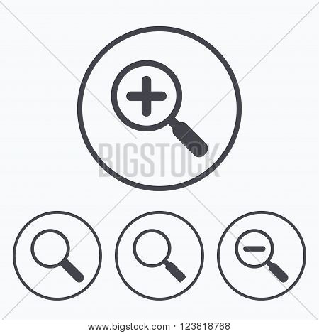 Magnifier glass icons. Plus and minus zoom tool symbols. Search information signs. Icons in circles.
