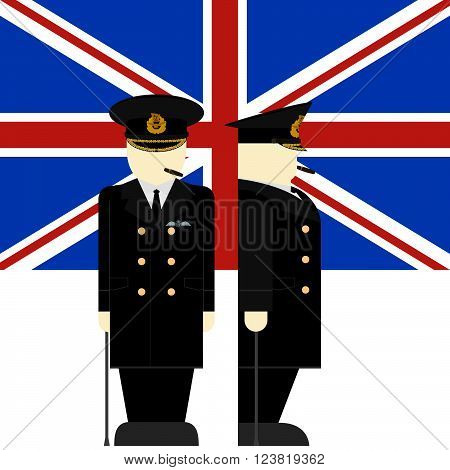 The flag and the Supreme Commander of the armed forces of Britain. The illustration on a white background.