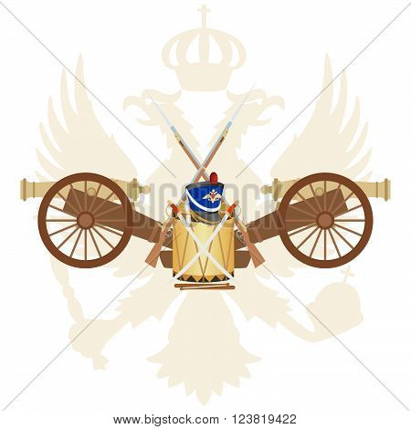 Coat of arms of Russia and in the 1812 war. The illustration on a white background.