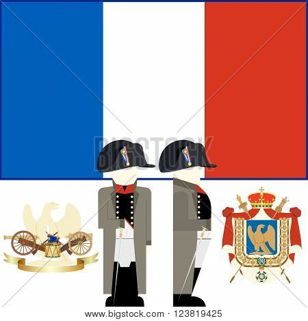The coat of arms and flag of France during the reign of Emperor Napoleon. The illustration on a white background.