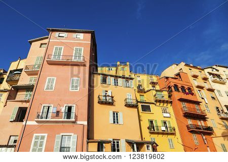 Colorful architecture of Menton. Menton Provence-Alpes-Cote d'Azur France