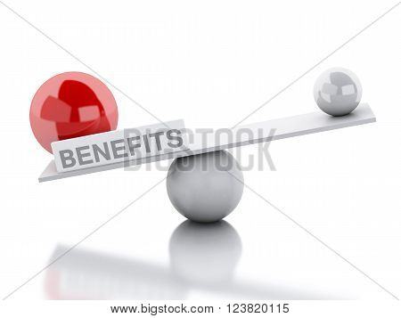 3D Illustration. Seesaw balance benefits. Business concept. Isolated white background.