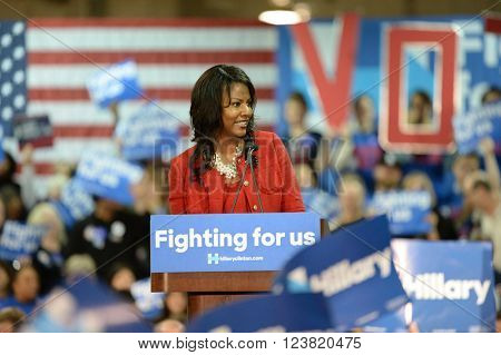 Saint Louis, MO, USA - March 12, 2016: St. Louis Treasurer Tishaura Jones speaks to Hillary Clinton supporters at Carpenters Training Center in St. Louis.
