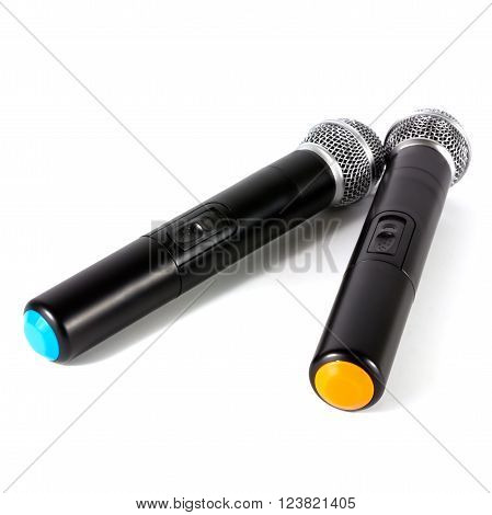 Two microphone wireless on white background, microphone concept, microphone isolated, microphone studio, microphone communication.