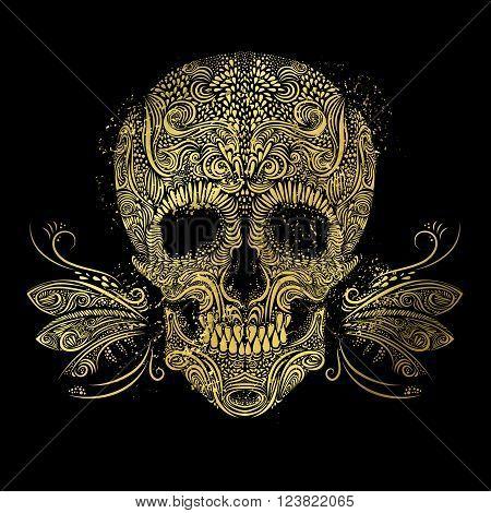 Golden skull. Floral gold pattern of form skull on the black background
