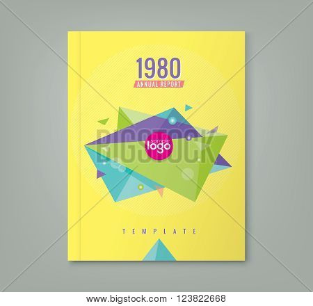 Abstract 80's style triangle geometric shapes design background for business annual report book cover brochure flyer poster