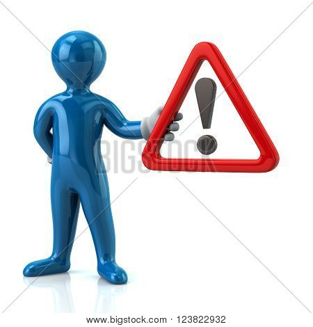 Blue man holding warning attention sign with exclamation mark