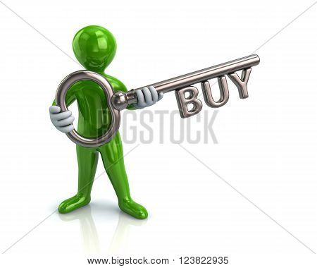 Illustration of green man and silver key with word buy