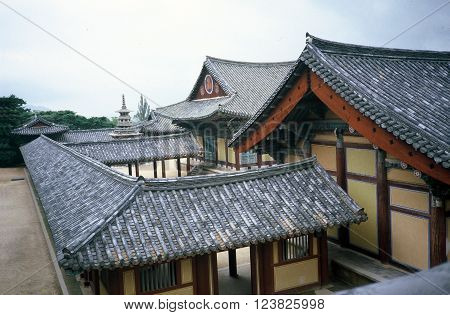 GYEONGJU CITY, NORTH GYEONGSANG PROVINCE / KOREA - CIRCA 1987: Bulguksa is the head temple of the Jogye Order of Korean Buddhism, and is a UNESCO Heritage Site.