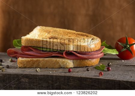 Beef pastrami sandwich with lettuce and tomato over wooden background